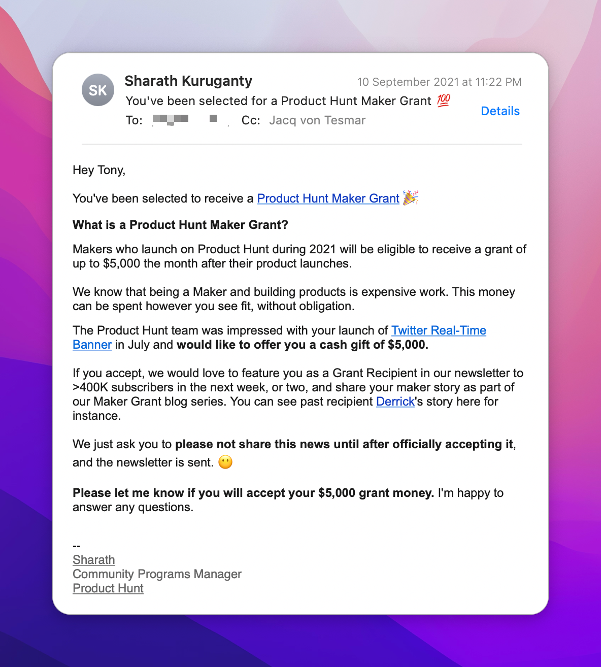 First email from Product Hunt