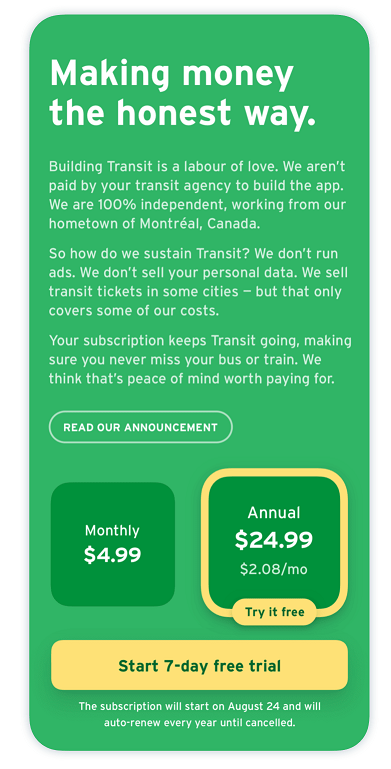 The paywall of Transit Royale