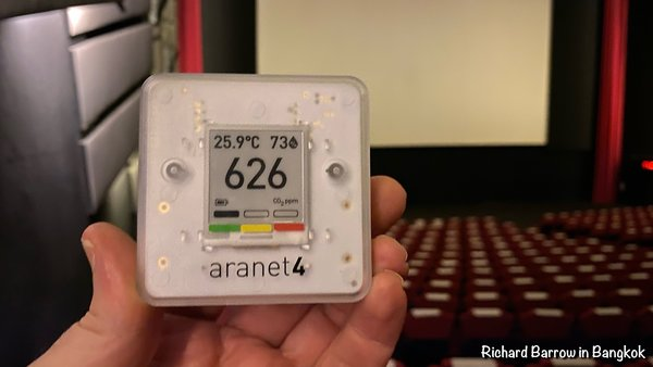 CO2 Meter Reading of 626 ppm at the cinema