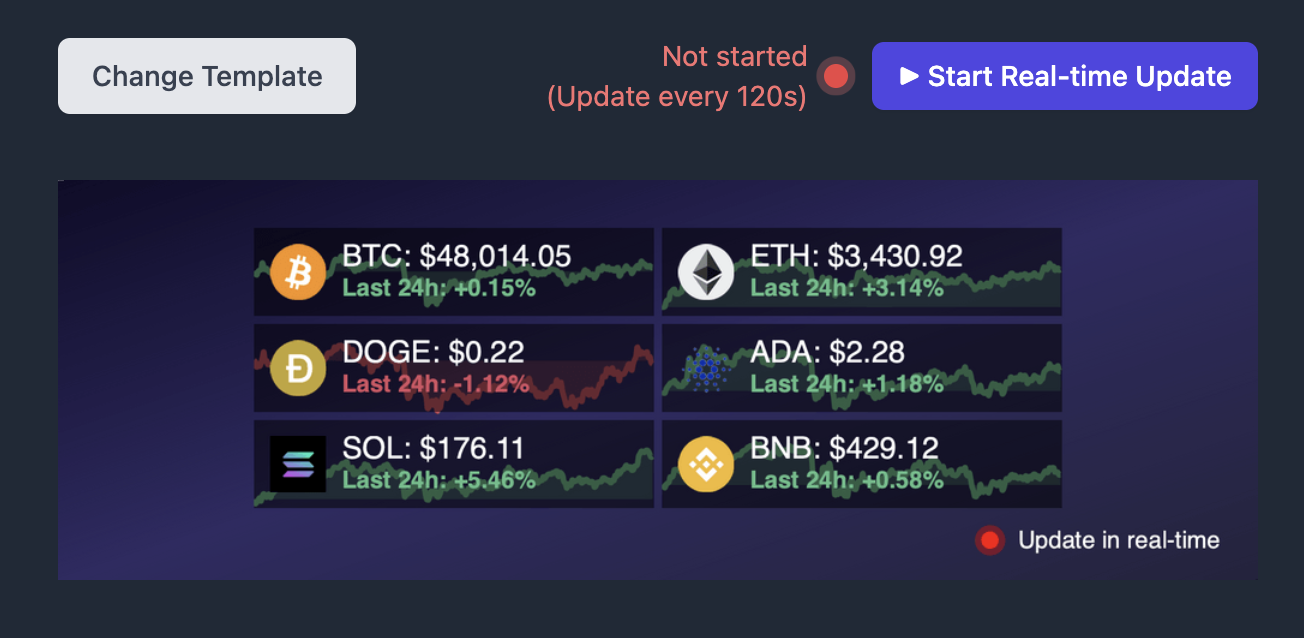 Show up to 6 different stock symbols/coins!