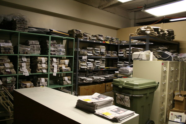 """An example of a newsroom """"morgue,"""" where copies of old newspapers are kept for anyone that wants a copy, including staff. (Lindsey Turner/Flickr)"""
