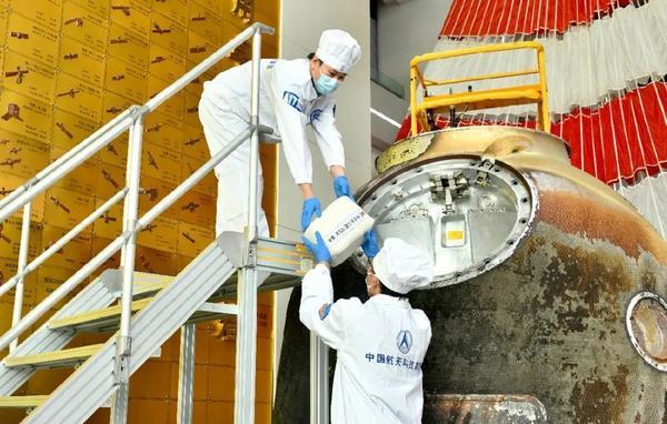 Unpacking of the Shenzhou-12 capsule