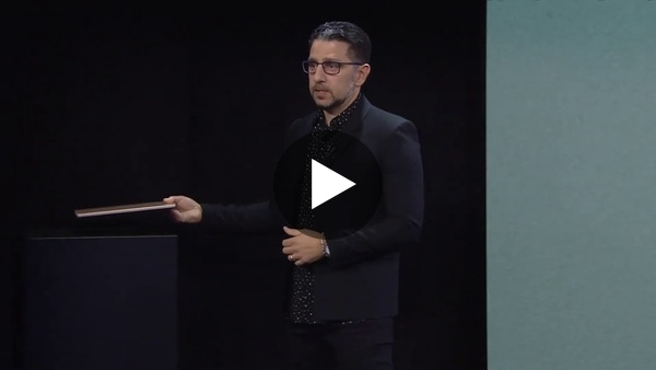 Panos Panay, showing off the Surface Laptop 3, a device that is technically user-repairable.