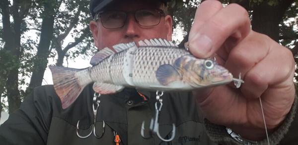 MAZ-Redakteur Frank Bürstenbinder mit einem Roboterfisch.