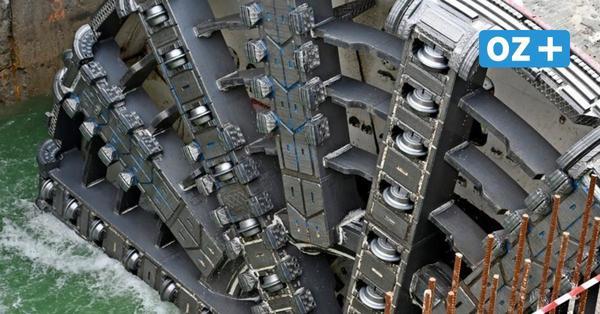 Swine-Tunnel zwischen Inseln Wollin und Usedom: Bohrmaschine an Oberfläche