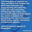 """""""The thing gets no stations out here, no rabbit ears needed. We don't need networks and programming; we need only noise. We need only snow, electromagnetic noise, man, semut bertengkar as Indonesians say, which translates into something like 'war of the ants.' Radio waves, cosmic microwave background radiation"""""""