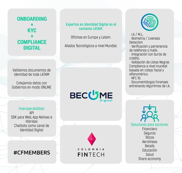 """Colombia Fintech on Twitter: """"Nuestro #FollowFriday de hoy es para #BecomeDigital🔥 Estos cracks cuentan con #soluciones #digitales de manera fácil, segura e intuitiva para verificar la #identidad de una persona digitalmente 📲😏"""