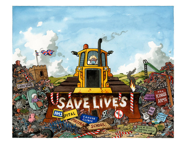 Caricature de Bob Moran du bulldozer sanitaire de Boris Johnson.
