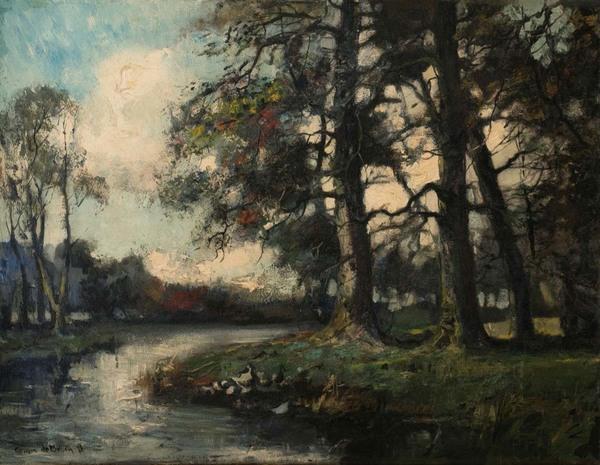 'Landgoed Groeneveld Baarn' - olieverf op doek: Cornelis de Bruin (herkomst: particuliere collectie)
