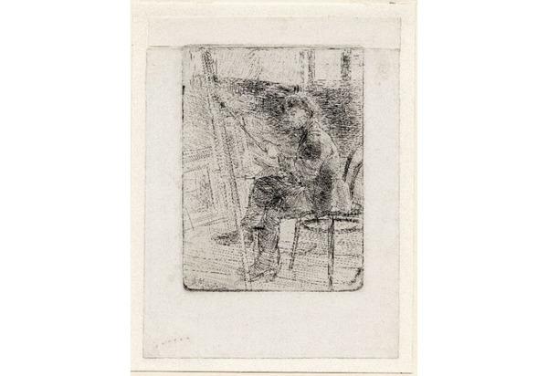 'Doris Mesker' - ets, inkt op papier: Anton Mauve (herkomst: coll. Kunstmuseum Den Haag)
