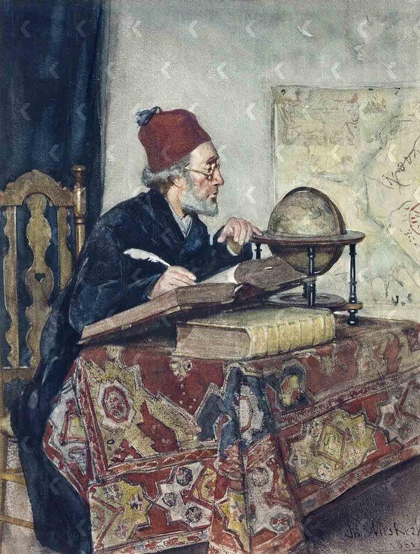 'De geleerde' - aquarel: Theo Mesker (herkomst: coll. Groninger Museum)