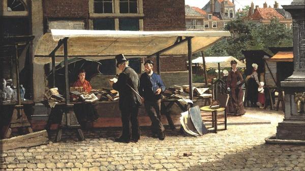 'De boekenstal' - olieverf op doek: Theo Mesker (herkomst: coll. Joods Historisch Museum)