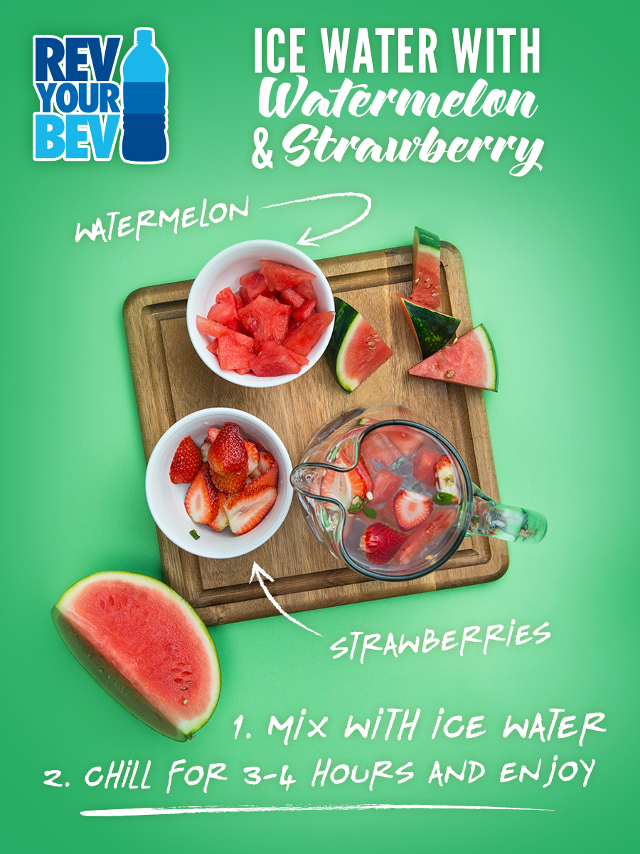 Ice water with watermelon & strawberry