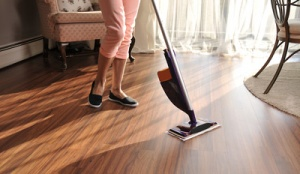 sweeping hardwood floor