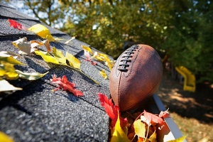 football on rock with autumn leaves
