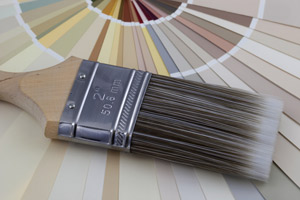 paint brush with color samples
