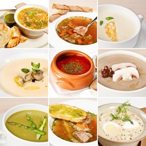 collage of soups