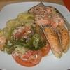 receta de salmón al horno con cama de verduras por toscallita