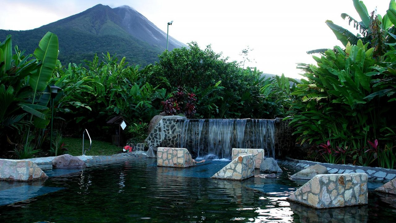 Volcano view from the hot springs