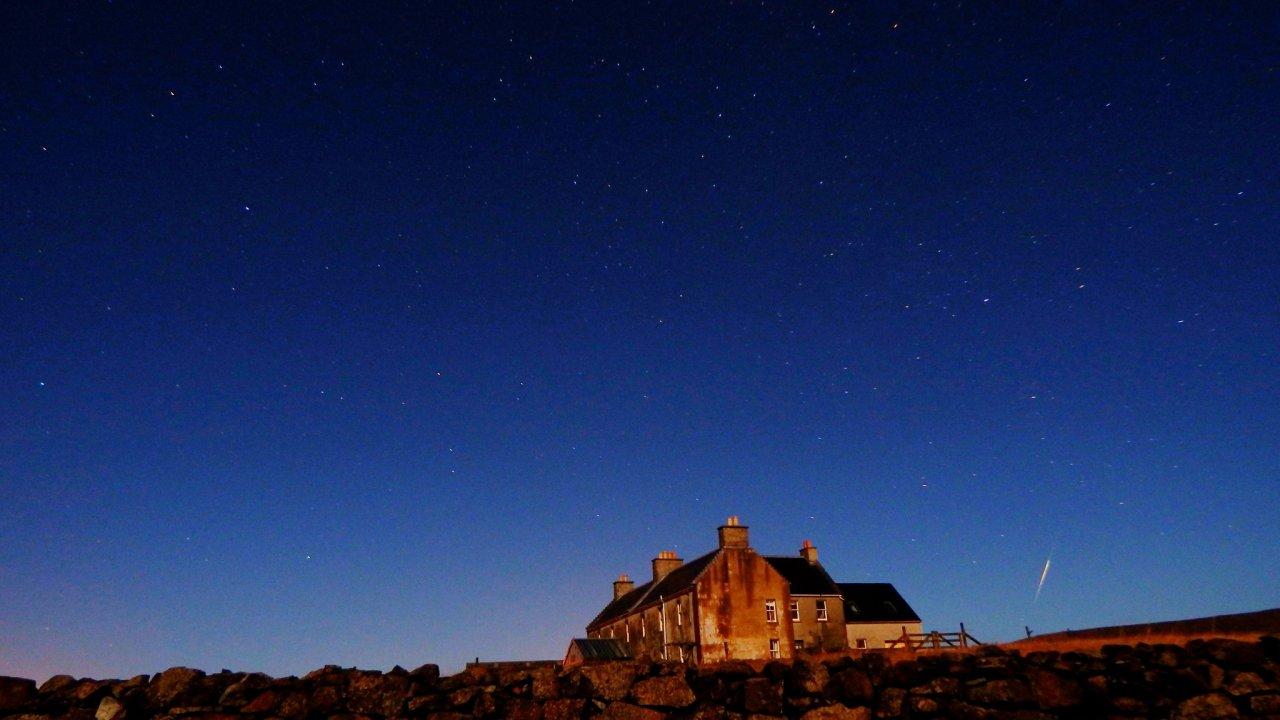 Buness House, Baltasound at night