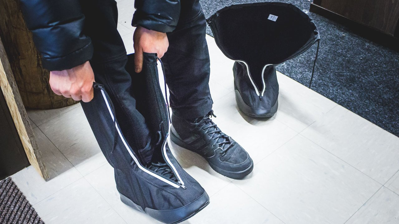 Shoe covers available to keep snow out and toes warm.