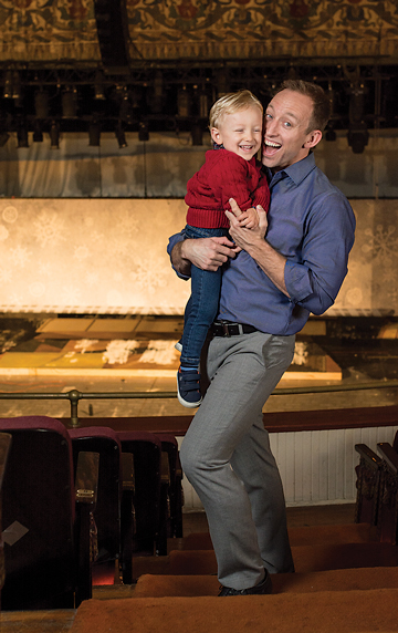 It's take-your-baby-to-work day at Virginia Rep. Nathaniel and Benjamin clown around in the balcony at November Theatre.