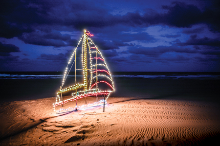 Virginia Beach lets visitors drive along a 3-mile stretch of the boardwalk to take in its nautical-themed light exhibit. Nature provides a stunning backdrop.