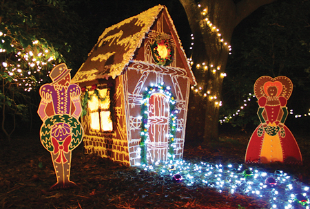 Your family will treasure the festive displays in the walk-through light exhibit at the Elizabethan Gardens on Roanoke Island.