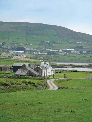 The land is an intense green on Valentia, one of Ireland's most westerly points.