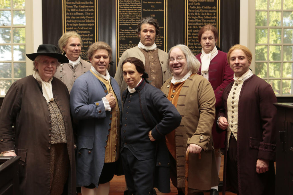 Left to right: Matthew Costello (stephen Hopkins), Michael Hawk (John Hancock), Jody Ashworth (John Dickinson), Scott Wichmann (john Adams) , Bryant Pugh (Richard Henry Lee), Jason Marks (Benjamin Franklin), Landon Nagel (Thomas Jefferson), Alexander Sapp (Edward Rutledge)