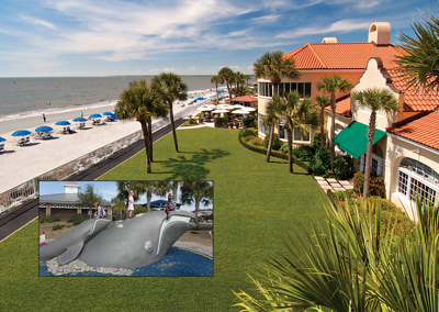 About a mile from the King and Prince Hotel, enjoy oceantfront Neptune Park with an elaborate play park, a pier, mini-golf, and a pool for family fun.