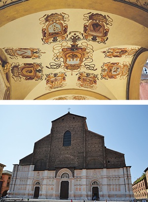 Looking up is always recommended when touring Bologna. One of many apsis is shown above; below, the Basilica de San Patronio, with its unfinished 