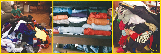 KonMari applied to clothing means you examine every item and ask the question: Does this spark joy? The recommended KonMari 