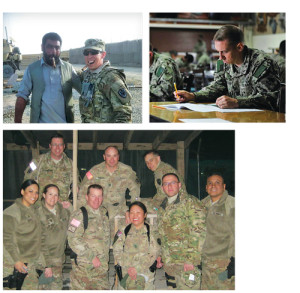 "Scott was thirty-four when he enlisted in the Navy Reserve, declaring the opportunity ""a window he did not want to see closed."" From left, Scott with an Afghan local in 2012; taking an exam in Djibouti in 2014; with his joint Navy/Army/USAF unit in Afghanistan in 2012."