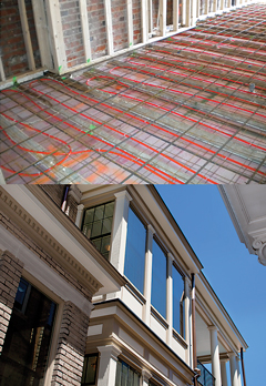 The radiant floor heating system is the most energy efficient electric heating system on the market. Low-profile replacement windows look fabulous.