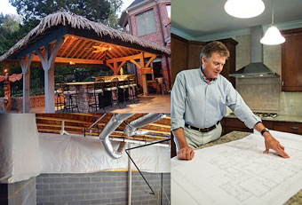 This outdoor kitchen features ceiling fans and a roof thatched with eco-friendly materials. Rich Napier of Napier Signature Homes, shown right, is a champion of conditioned crawl spaces in today's homes.