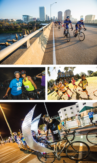 Popular events from Sports Backers for families that support Bike Walk RVA's mission of public-use trails for biking and running in Richmond include The Martin's Tour of Richmond, the Maymont X-Country Festival, and the summer favorite, Anthem Moonlight Ride.