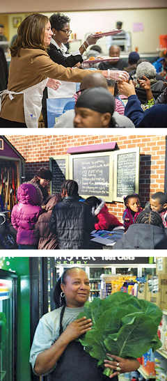 From top, First Lady Dorothy McAuliffe and Councilwoman Cynthia Newbille serve lunch at the opening of 31st Street Baptist Church's Nutrition Center; the Learning Garden at Peter Paul Development Center; the Healthy Corner Store Initiative is expanding in 2015.