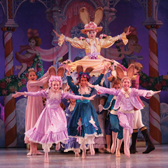 Little bunnies emerge from underneath Mother Ginger's skirt in Act II of Richmond Ballet's The Nutcracker.