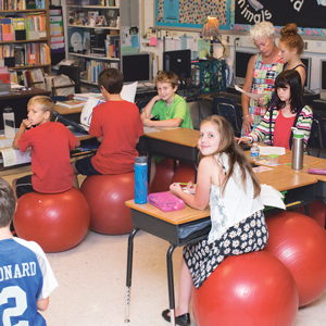 At Pearson's Corner Elementary School in Hanover County, fourth and fifth graders sit on balance balls in the classroom to promote good posture.