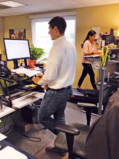At the Sports Backers office, employees work at and walk on treadmill desks and also use adjustable sit-to-stand workstations.