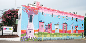 The ROSMY building on Westwood Avenue was painted by ROSMY youth in 2013 in collaboration with the team at ART 180. The organization offers weekly support groups, drop-in hours at the youth center, and more for LGBTQ youth.
