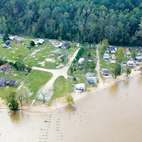 A view of flood damage along the James River after Hurricane Isabel in 2003.