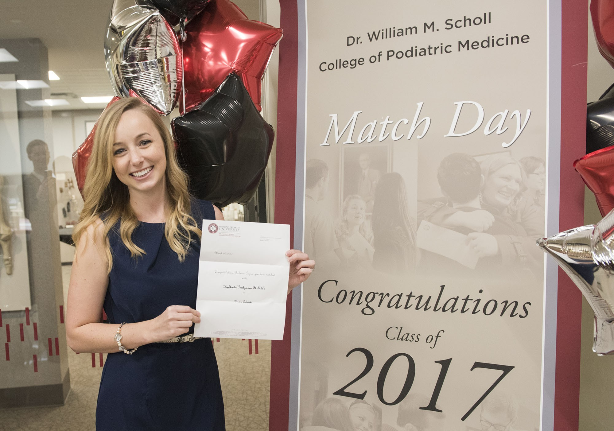 Rebecca Coyne SCPM 17 Celebrates Her Residency Match To Presbyterian St Lukes Medical Center In Denver CO During The Dr William M Scholl College Of