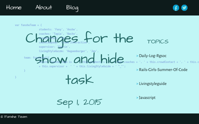 2015 09 01 changes for the show and hide code task