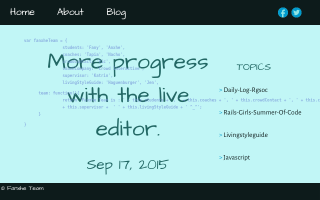 2015 09 17 more progress with the live editor