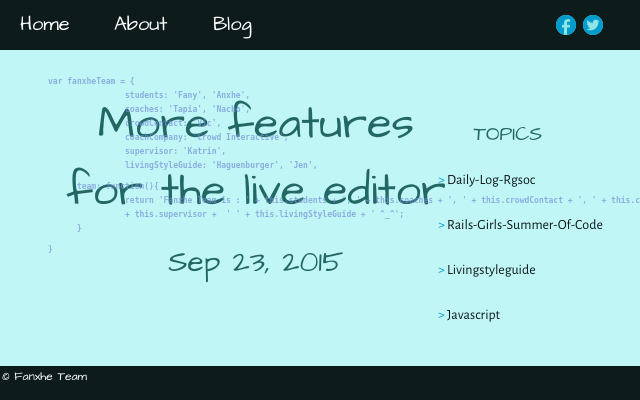 2015 09 23 more features for the live editor