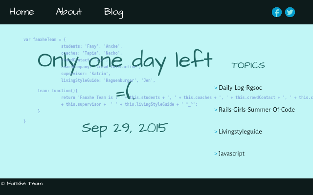 2015 09 29 only one day left