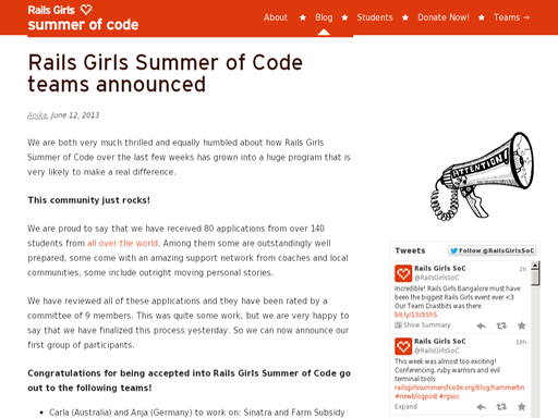 Rails girls summer of code teams announced