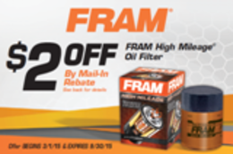 FRAM High Mileage Oil Filter - $2 Mail-In Rebate
